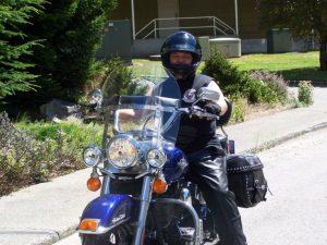 Chris Miles on motorcycle