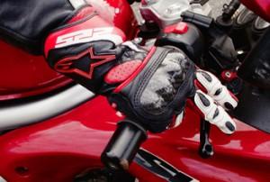 Motorcycle rider breaking