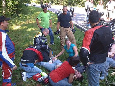 Motorcycle crash scene