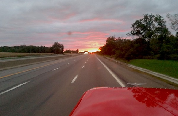 Truck heading into the sunset