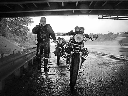 Motorcycle under Brooklyn Underpass