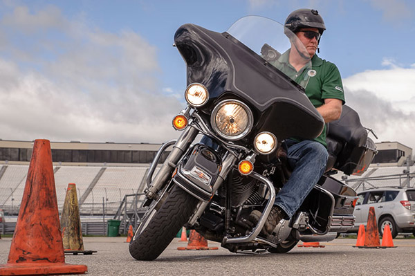 Man riding motorcycle in course