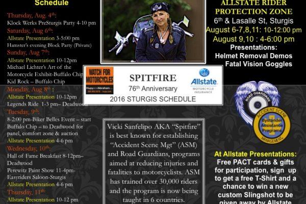 Vicki Sanfelipo AKA Spirfire Sturgis Schedule