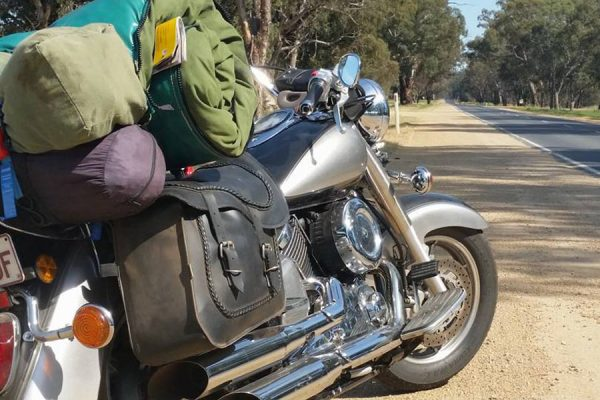 Gear packed onto motorcycle